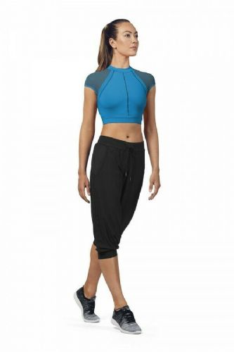 BLOCH Ladies Dance Open Back Mesh Cap Sleeved Crop Top FT5201 Maldives Blue